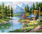 Puzzle Domek przy górskim potoku