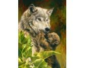 Puzzle Wilk z młodym
