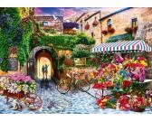 Puzzle Stary targ z kwiatami