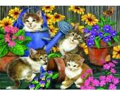 Puzzle Koty w ogrodzie