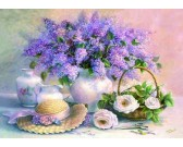 Puzzle Martwa natura z kwiatami i kapeluszem