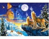 Puzzle Wilki wyjące do księżyca