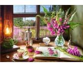 Puzzle Martwa natura z różowymi kwiatami