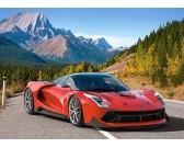 Puzzle Czerwony samochod wyścigowy w górach - PUZZLE DLA DZIECI