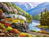 Puzzle Pociąg w dolinie orłów - PUZZLE DLA DZIECI