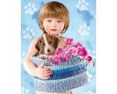 Puzzle Dziecko s psem Beagle