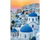 Puzzle Santorini o zachodzie słońca