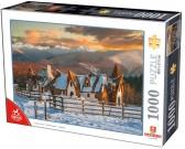 Puzzle Wieś w zimie