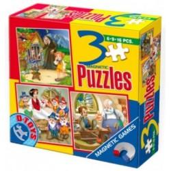 Puzzle Jaś i Małgosia, Królewna Śnieżka, Pinokio - PUZZLE MAGNETYCZNE