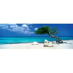 Puzzle Drzewo na plaży - PUZZLE PANORAMICZNE