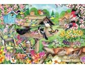 Puzzle Ptaki w wiosennym ogrodzie