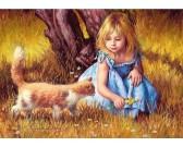 Puzzle Mała dziewczynka z kotem