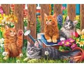 Puzzle Kocięta w ogrodzie